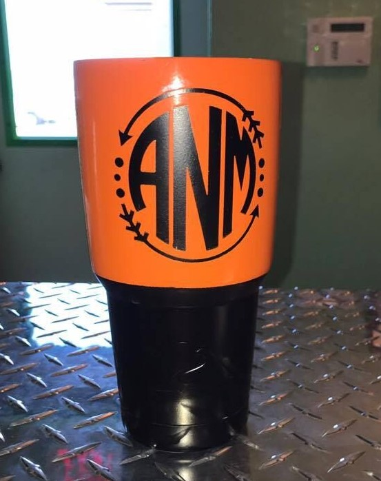 Orange and Black Custom Cup